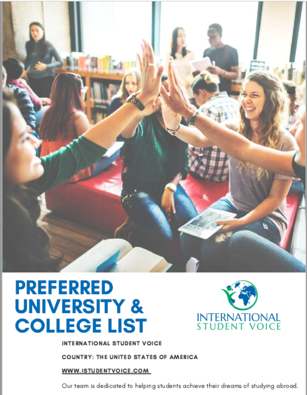 International Student Voice USA Preferred University and College List Cover